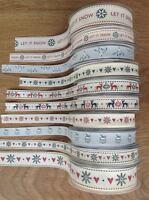Berisford Christmas Ribbons - 1  or 3 Metre - Snowflake, Reindeer, Mistletoe NEW
