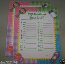 24 Baby Shower Party Ice Breaker Question Game BABY NECESSITIES A - Z