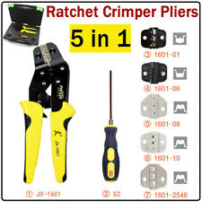 5 In 1 Ratcheting Wire Terminal Crimper Crimping Pliers Tool Kit Setscrewdriver