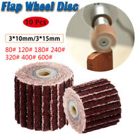 10PCS 80-600 Grit Flap Sanding Wheel Head Grinding Disc & Arbor for Rotary Tool