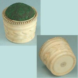 Antique Carved Bone Pincushion * English * Circa 1870