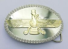 Iran iranian persian Farvahar belt buckle silver gold plated Unisex 3D wing man