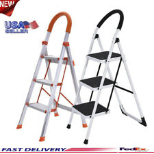 Non-slip 3 Step Aluminum Ladder Folding Platform Stool Load Capacity Protable US