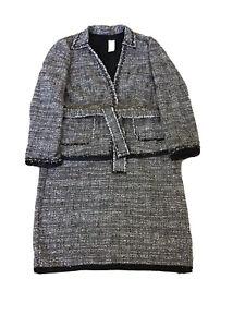 Ann Taylor Women Skirt Blazer Suit Tweed Frayed Fine Italian Fabric Size 18 NWT