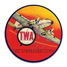 Vintage TWA The Lindbergh Line Airline Reproduction Round Aluminum Sign