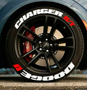 Tire Lettering Stickers DODGE CHARGER R/T 1.25' 14' to 22' Compatible Tires
