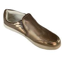 Slip on Brash Brand Metallic Rose Gold Sneakers w/Side Zipper Size 10