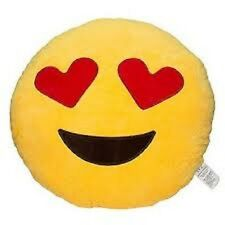 """USA SELLER Emoji Pillow 12"""" Inch Large Yellow Smiley 30cm Emoticon (Heart) Toy"""