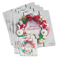 Set of 4 Merry Christmas Placemats and Coasters Dining Table Place Setting Mats