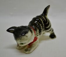 Vintage 1950s Miniature Ceramic Tabby Cat Kitten Red Bow Handpainted JAPAN