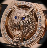 new cool men's belt wolf head buckle gold and blue color casual waist Black Belt