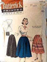 Vintage 1950s Sewing Pattern Butterick #5803  Dirndl Skirt Waist 30, Hip 39