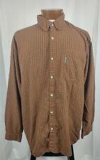 Columbia Long Sleeve Button Front Mens Plaid Shirt Cotton Brown Orange Yellow XL