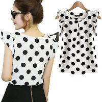 Fashion Women's Casual Polka Dot Chiffon Blouse Short Sleeve Shirt T-shirt Tops