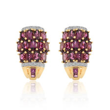 3.95 Carat Rhodolite & Diamond Huggy Earrings 14K Yellow Gold