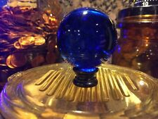 HUGE. Lamp Finial Topper Cobalt Blue Crystal Perfect On Tiffany Lamp Large Base