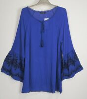 New Purple Evans Embroidered Sleeve Tunic Top - Size 14 - 26