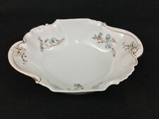 Charles Field Haviland Limoges GDM Blue Brown Daisies Gold Oval Serving Bowl