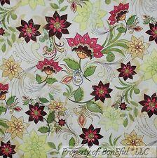 BonEful Fabric FQ Cotton Quilt VTG Cream Pink Green Boho Flower Garden Leaf Sale