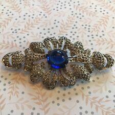 Vintage Estate Jewelry Pot Metal Rhinestone Blue Sapphire Glass Brooch Pin