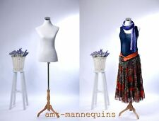 Female white dressform+ wooden stand+2 covers, half body armless torso Mf-88
