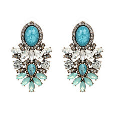 Womens Blue Big Earrings Beautiful Crystal Stone Water Drop Rhinestone Fashion