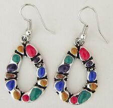 1 Pair of Multi Color Earrings 17 mm * 43 mm Long Nickle Lead Cadmium Free ER007