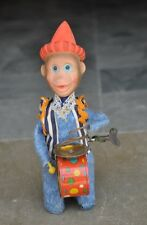 Vintage Wind Up Monkey Playing Drum & Cymbal Textured Cloth Tin Toy , Japan?