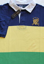 New $125 Ralph Lauren Blue Green Yellow Striped Crossed Mallets Rugby / BIG 5