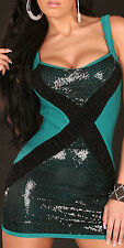 SEXY MINI DRESS TURQUOISE GREEN BLACK SEQUINS BODY CON PARTY COCKTAIL LOW BACK S