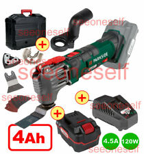 PARKSIDE 20V CORDLESS OSCILLATING MULTI-TOOL +4AH BATTERY FAST CHARGER+CASE+BITS