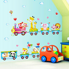 Animal Monkey Tree Train Wall Sticker Nursery Baby Kids Room Decal Home Decor BD