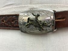 Vintage Tony Lama Brown Leather Rodeo Bull Riding Buckle 51314 Sz 26 Kids Youth