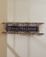 Sentiment Ladder Wall Hanging Live Love Laugh Country Primitive Rustic Decor