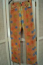 OIL Korean Flower Power Trousers 28W 33L Hippie Jeans Boho Skinny Unisex Pants