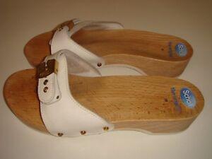 Authentic Dr Scholl The Original Scholl's Women's White Leather Sandals Size 38