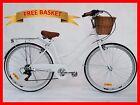 BRAND NEW VINTAGE RETRO LADIES BEACH CRUISER BICYCLE / BIKE BASKET 6 SPEED WHITE