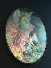 "Vintage Chimney Flue Cover Children Angel Plaque Iridescent 8"" x 11"" Foil Holy"
