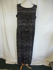 Ladies Long Dress Ann Harvey UK 20 EU 46 black brown abstract lined stretch 2055