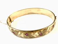 Vintage Ornate 1/5th 9ct Rolled Gold Half Floral Ruby Bracelet Bangle GIFT BOXED