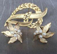 Vintage Crown Trifari Pearl Brushed Gold Tone Clip-On Earrings & Brooch Leaf
