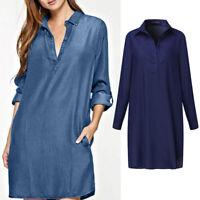 Mode Femme en Jean Manche Longue Casual en vrac Simple Droit Jupe Mini Robe Plus