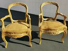 Antique 18th Century French Louis XV Fauteuil Arm Chairs carved Provincial 1700s