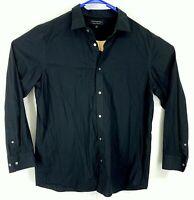 BANANA REPUBLIC Mens Size XL Black Long Sleeve Button Up Collar Dress Shirt Mint