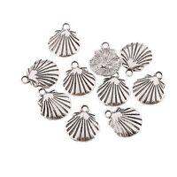 Shell Beads Tibetan Silver Charms Pendant DIY Bracelet 10pcs 18x14mm Free Ship
