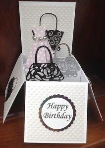 Handbag themed pop up card Lilac Dress
