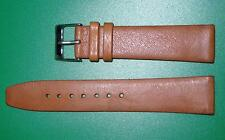 22mm Men's Flat Watch  Band/Strap in Brown Genuine Leather Silver Buckle