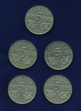 CANADA  GEORGE V  1928, 1930, 1933, 1934, & 1935  5 CENTS  COINS, LOT OF (5)!