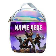 Personalised Girls Lunch Bag FORTNITE Holographic Shiny Silver School Box KS151