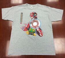 Red Megaman Iron Man Mashup Character Youth XL T-shirt Heather Gray